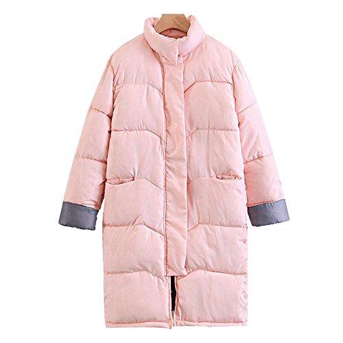Invierno nuevo grueso de gran tamaño pan de algodón abrigo mujeres sección larga sobre las rodillas chaqueta de las señoras Rosa