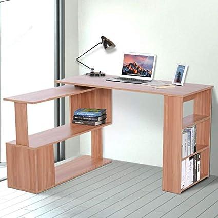 Amazon.com: L Shaped Rotating Computer Desk Bookshelves ...