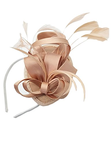 Antjoint Fascinators Hat Satin Feather Hair Clip Headband Derby Hat Bridal Wedding Cocktail Party Races (Peach)