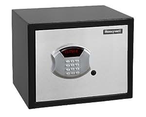 Honeywell 5104 Medium Steel Security Safe withHotel-Style Digital Lock, 0.83-Cubic Feet, Black/Chrome