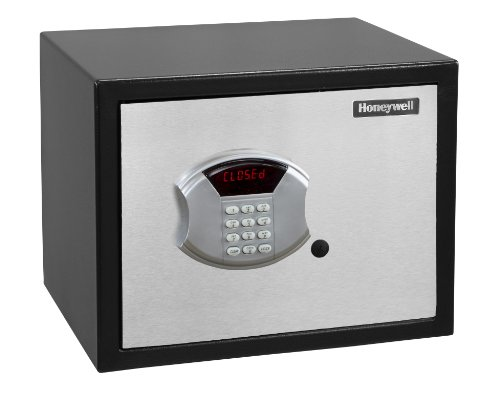 Honeywell 5104 Medium Steel Security Safe withHotel-Style Digital Lock, 0.83-Cubic Feet, Black/Chrome