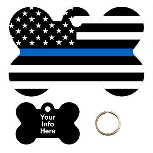 Customized Blue Line Flag Pet Tag - Bone Shape Dog Tag