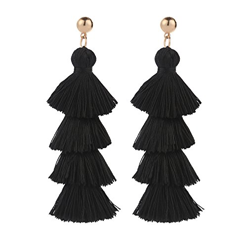BaubleStar Fashion Gold Tassel Dangle Earrings Layered Long Bonita Tiered Black Thread Tassel Drop Statement Jewelry for Women Girls BAN0054B1