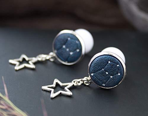Orion's belt ear plugs Cute constellation gauge earrings 8g 6g 4g 3g 2g 0g 00g Stars Space Galaxy Personalized zodiac night sky Dangle long tunnel stretcher custom size gift for beat friend