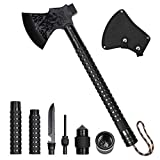 LIANTRAL Camping Survival Axe, Folding Tactical Camp Hatchet with Hammer, Nylon Sheath for Outdoor Adventures, Black
