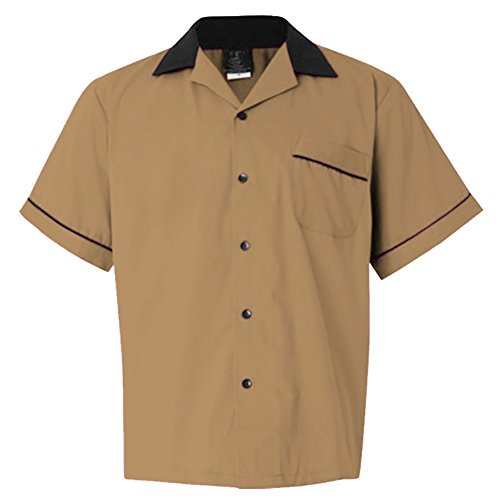 Male Clothing Rockabilly Style Casual Cotton Blouse Mens Fifties Bowling Dress Shirts (XL, Brown) (Rockabilly Anchor)