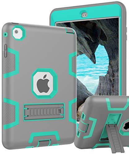 iPad Mini 5 Case,New iPad Mini 2019 Case,iPad Mini 4 Case,[Kickstand] Kids Proof Shockproof Heavy Duty Protective Cover Case for iPad Mini 5 2019 Release/iPad Mini 4/iPad Mini 4 Retina Grey Green