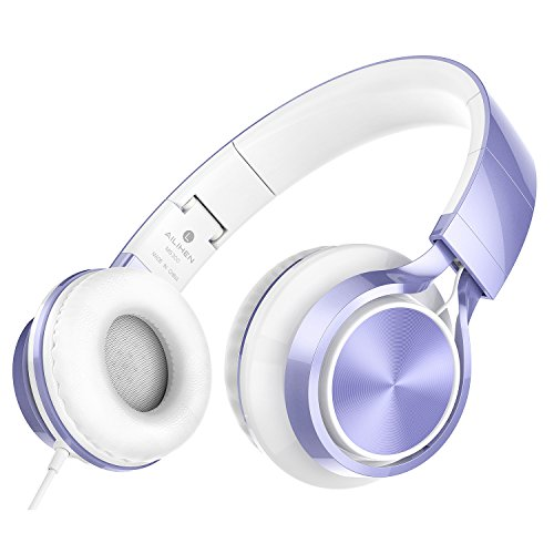 AILIHEN MS300 Wired Headphones, Stereo Foldable Headset for iOS Android Smartphone Laptop Tablet PC Computer (Violet) (Folding Stereo)