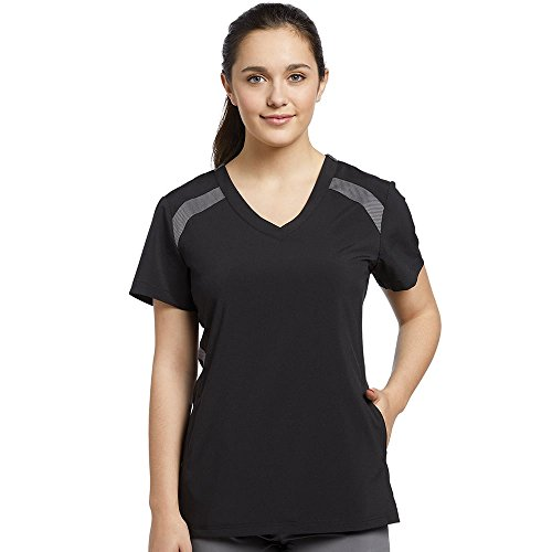 Fit by White Cross Women's V-Neck Mesh Contrast Solid Scrub Top Medium Black/Pewter
