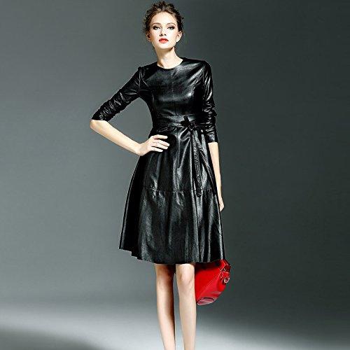L noir Gaoxu-VêteHommests pour femmes GX l'europe l'hiver Nouvelle Robe mode essayage de la Robe à Manches Longues Tout Match Solide tempéraHommest