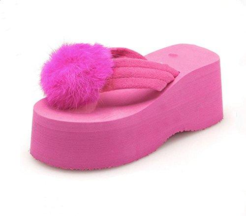 sandali aperti lanciano pantofole scivolare femminili scarpe coniglio mano-palla tacco alto selvatici , US5.5 / EU35 / UK3.5 / CN35 , a