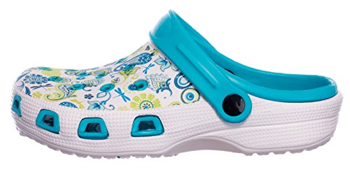 Sandali Bagno Scarpa Blu Bianco Scarpe Donna brandsseller Motivo da Floreale Giardino Pantofole Zoccoli Ciabatte 0qnEAwaZ8