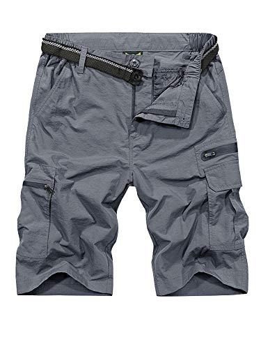 Men's Sun Protection Hiking Shorts,Golf Quick-Dry Lightweight Breathable Outdoor Cargo Shorts (6222,Grey,28)