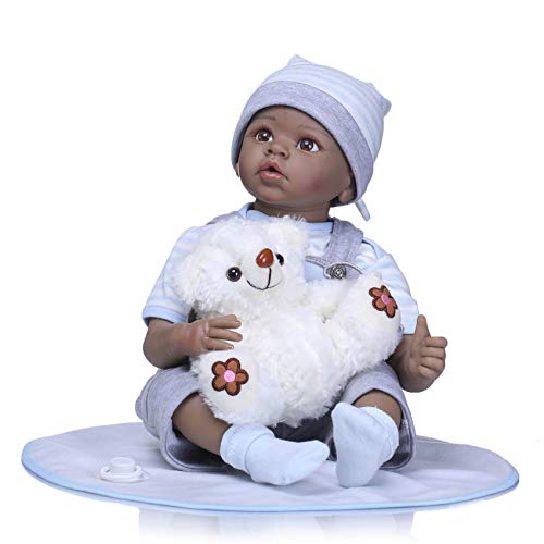 - Pinky Lifelike 22 Inch 55cm Reborn Baby Dolls Soft Silicone Doll Handmade Newborn Baby Boy Dolls Realistic Looking Toddler Dolls Real Touch Black Skin Indian African Cute Doll Birthday Xmas Gift