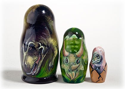 Made in Russia Authentic Dinosaur Nesting Doll 3pc./3.5