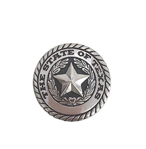 - State of Texas Seal Round Concho Western Decoration Chicago Screw Silver 1