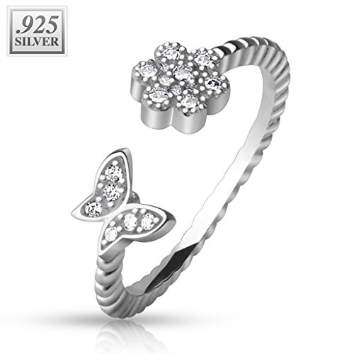 Blue Palm Jewelry CZ Paved Flower and Butterfly .925 Sterling Silver CZ Toe Ring Adjustable TR42 Butterfly Ring Jewelry