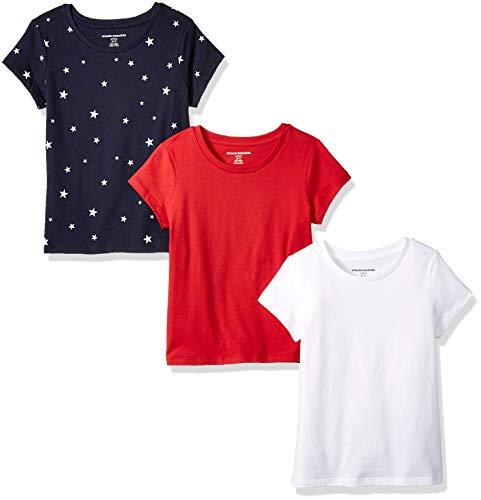 Amazon Essentials   Girls' 3-Pack Short-Sleeve Tee, Star/White/Red XS (4-5)