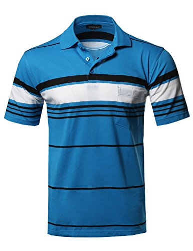 Chest Stripe Rugby Shirt - Style by William Basic Everyday Stripe Chest Pocket Polo T-Shirt Teal XL