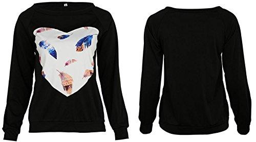 de Coeur JackenLOVE Forme en Hiver Automne Chemisiers Hauts Blouse T Casual Sweats Noir Sweat Shirt Manche Imprim Femme Shirts Tops Longue r6XIqr