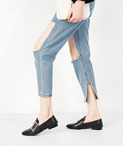 pedale femminile superficiale scarpe pigro fibbia Xue il nero scarpe per Marea Qiqi tacco 35 piatto bocca laterale singolo 0HSvwq