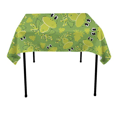 Frog Quilted (GOAEACH Table Cloth, Dust-Proof Wrinkle Free Table Cloth, Square/Rectangular Cute Frog Pattern Machine Washable Table Protectors Family Dinners, Gatherings, Table Art)