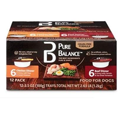 Pure Balance Pack of 5 Canned Chicken & Beef Wet Dog Food, 3.5 Oz, 12 Ct