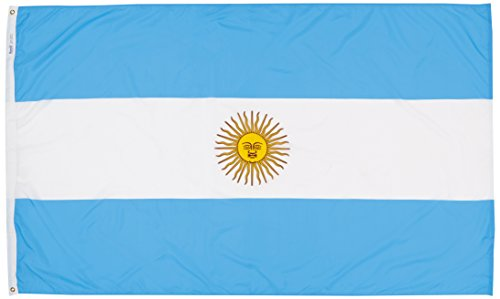 Argentina Flag 5x8 ft. Nylon SolarGuard Nyl-Glo 100% Made in USA to Official United Nations Design Specifications by Annin Flagmakers.  Model - Ray Argentina
