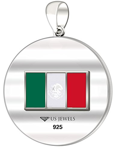 0.925 Sterling Silver 1in DNA Certified Mexican Heritage Pendant Medal with Flag 3.3mm Rope Necklace, 24'' by US Jewels And Gems (Image #3)'
