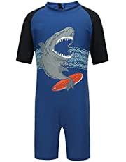 PHIBEE Boys' One Piece Rash Guard Swimsuit Short Sleeve UPF 50+ Sun Protection Bathing Suits