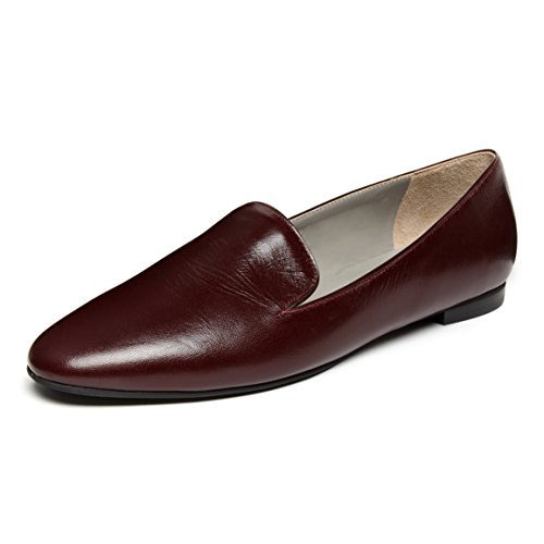 Bordeaux kid loafer flats with rubber sole DQYn3lZ