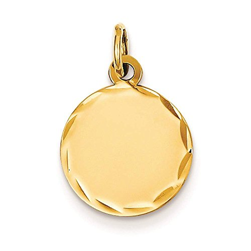 - 14k Yellow Gold Etched Design .018 Gauge Engravable Round Disc Charm Pendant