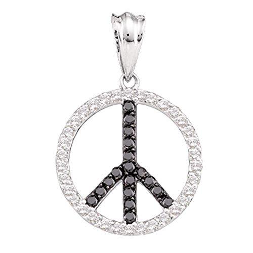 The Diamond Deal 14kt White Gold Womens Round Black Color Enhanced Diamond Peace Sign Circle Pendant 3/4 Cttw