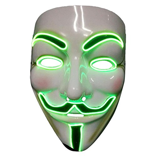 2017 Light Up EL LED V Face for Vendetta Movie Costume Guy Fawkes Anonymous Haloween Cosplay Mask (Green)