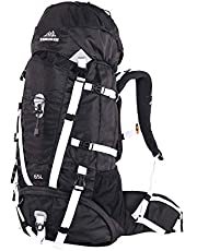 QUICK-UP Hiking Backpack 65L Internal Frame, High-Performance Daypack for Camping Traveling Trekking, Sewn-in Rain Cover