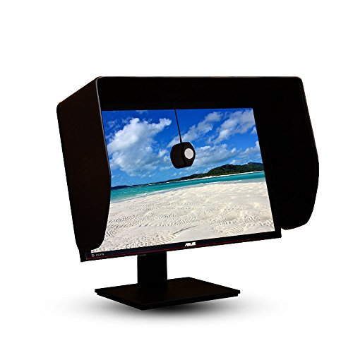 Lcd Monitor Hood (iLooker-24P 24 inch Pro Edition LCD LED Video Monitor Hood Sunshade Sunhood for Dell HP Viewsonic Philips Samsung LG EIZO NEC ASUS ACER BENQ AOC LENOVO, Fits Monitor Frame Width 550-565mm)