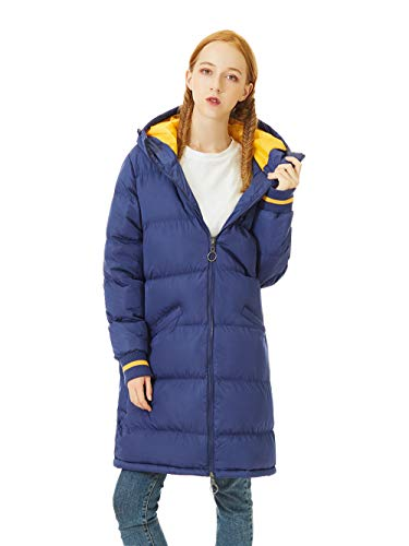(SUNDAY ROSE Women Long Puffer Coat Lightweight Quilted Jacket with Hood & Pocket,Color Blue,Size M/46'')