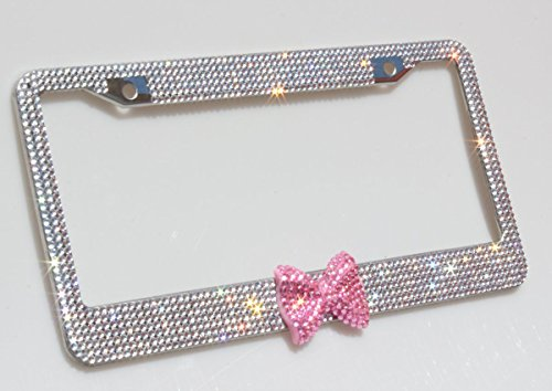 Carfond 7 Row Bling Bling Rhinestones Stainless Steel License Plate Frame With HOT Pink Bow Tie Bonus 2 Screws & 2 Caps (White/Pink Bowtie) (Plate Bow License)