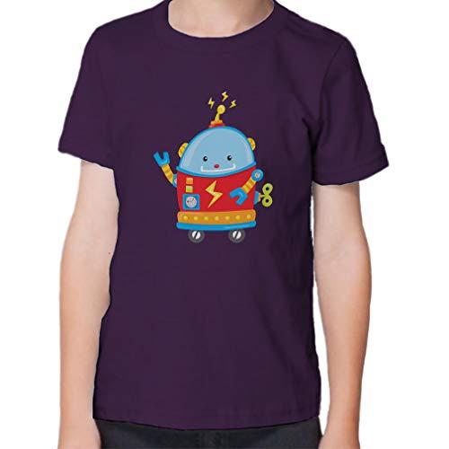 Small Robot Short Sleeve Crewneck Toddler Boys-Girls Cotton T-Shirt Jersey - Purple, 3T ()