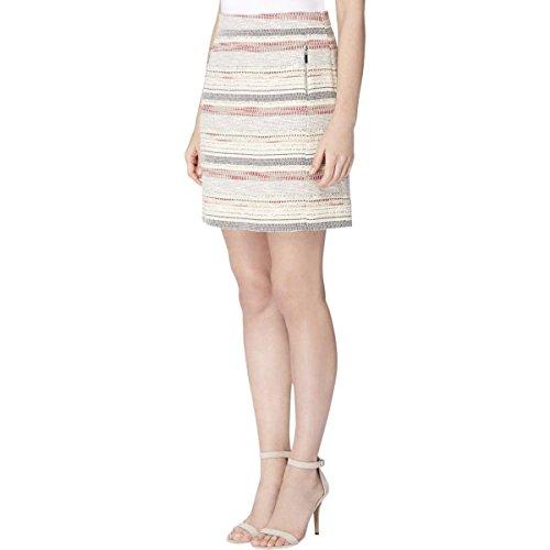 Tahari ASL Womens Tweed Zip Pocket A-Line Skirt Beige 16