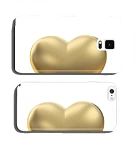 Golden heart on white with clipping path cell phone cover case Samsung Note 2
