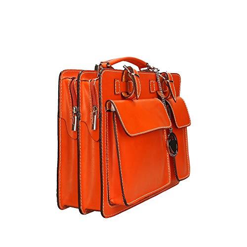 Made Orange Moyen Sac Véritable Cm En Pour Italy De Borse Rangement documents Porte 34x24x12 Chicca Cuir In xPaFqAwW