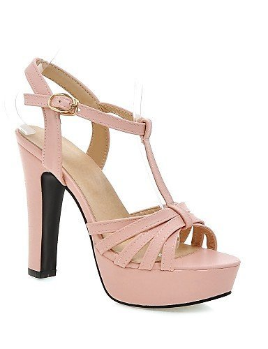 ShangYi Womens Shoes Leatherette Chunky Heel Heels Sandals Casual Black / Green / Pink / Beige Black