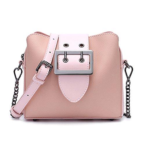 XiaYuan Bolso de Fiesta de Moda, Bolso de Cadena de Moda, Bolsa de Mensajero de Hombro Salvaje Coreano (Color : Gris) Pink