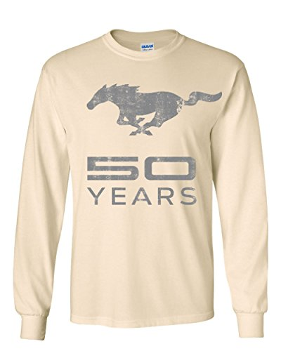 Ford Mustang 50 Years Long Sleeve T-Shirt Anniversary Licensed Natural L