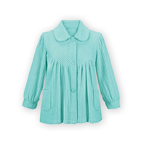 Women's Soft Fleece Button Down Night Shirt with Pockets - Comfy Flattering Fit Over Pajamas or Nightgown, Mint, Xx-Large