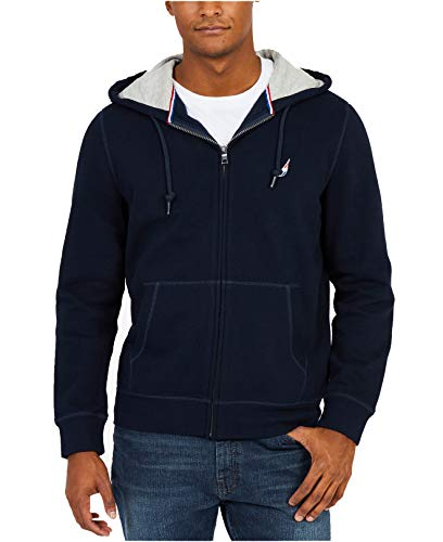 Nautica Men's J Class Embroidered-Logo Full-Zip Fleece Hoodie (True Navy, Medium) ()