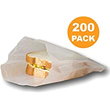 """Plain 7 x 6 x 1"""" Wet Wax Paper Sandwich Bags, Food Grade Water Grease Resistant, White Glassine Semi Translucent [200 Pack]"""
