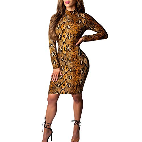 Eoeth Women Long Sleeves Round Collar Serpentine Printing Tight Fitting Dress Comfortable Skin-Friendly Gown Brown