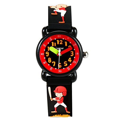 Kids Watch Baseball 3D Cartoon Waterproof Silicone Wrist Watches Fashion Analog Time Teacher Gift for Little Boys Black by PASNEW